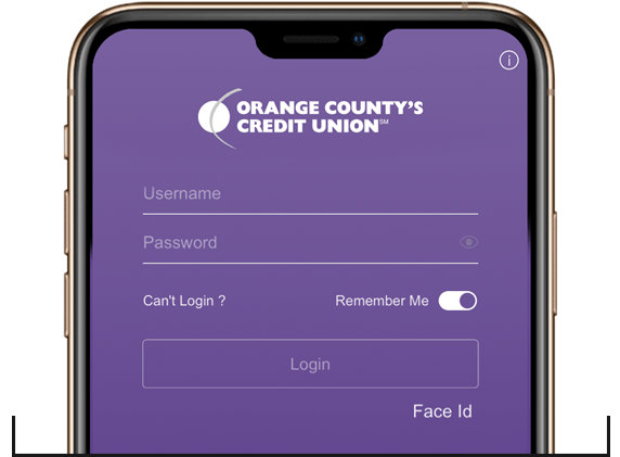 Image of phone displaying Orange County's Credit Union App