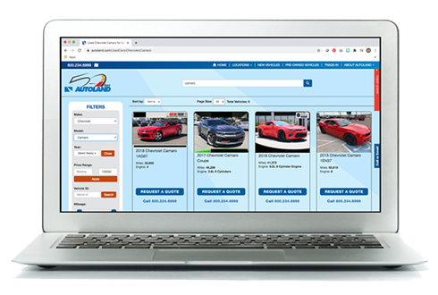 Image of a laptop browsing a car buying website