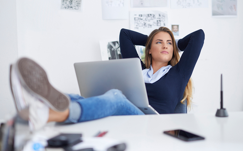 Woman relaxing because she got a personal loan and was able to pay for what she needed